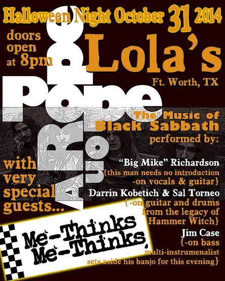 October 31 @ Lola's Saloon - Big Mike Richardson [Black Sabbath tribute set]
