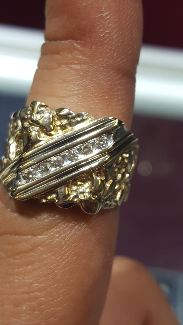 10k Diamond Nugget Ring For Sale In Houston Tx Offerup Gold Nugget Ring Gold Nugget Mens Pinky Ring