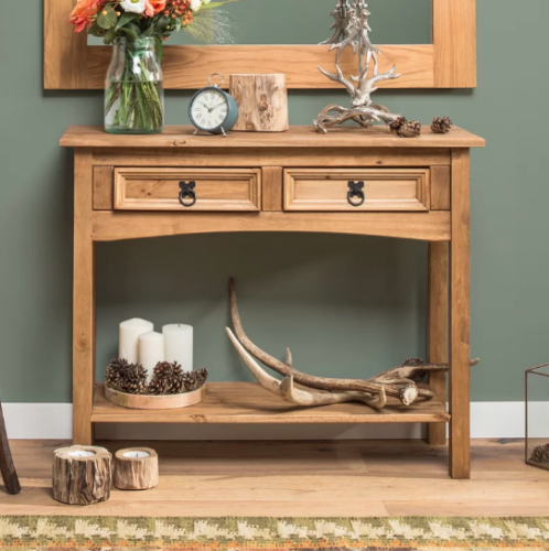 H4home Corona Rustic Console Table With 2 Drawers Solid Wood