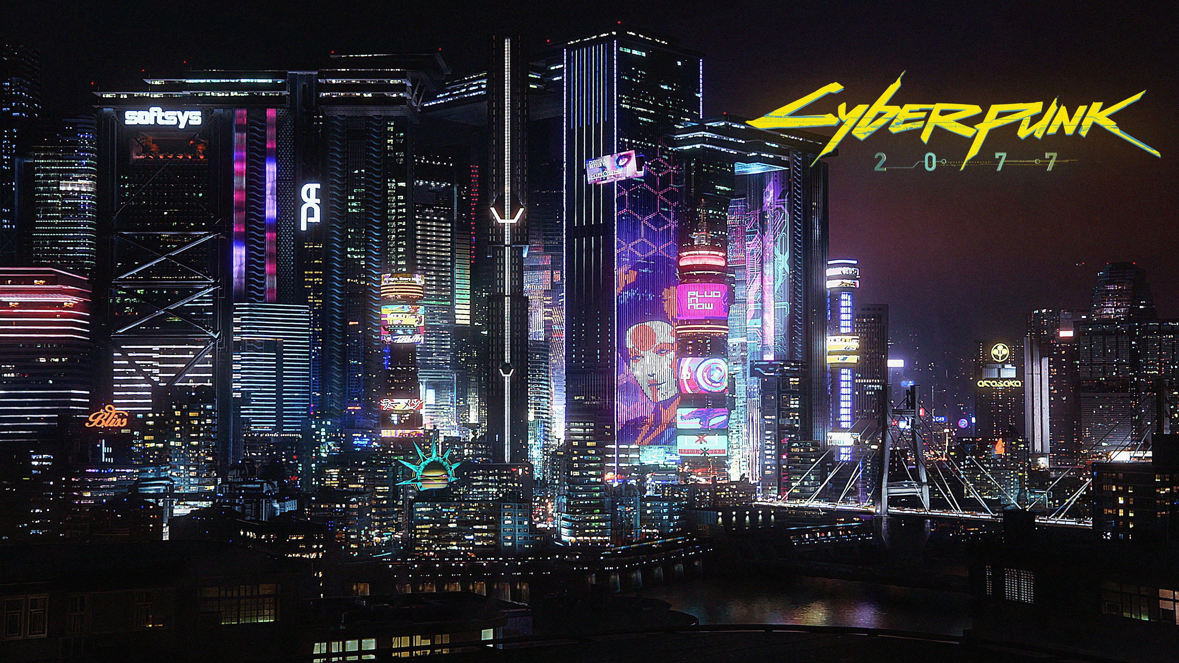 Cyberpunk 2077 Cyberpunk Video Game Art City Night City Lights Neon Glow Bridge 4k Wallpaper In 2021 Cyberpunk 2077 Wallpaper Neon Glow Wallpaper Glow Wallpaper