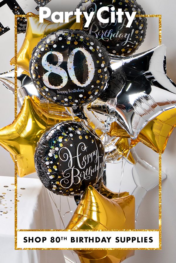 Make This Milestone Memorable Shop Party City For 80th Birthday Party Su 70th Birthday Party Supplies 80th Birthday Party Decorations Milestone Birthday Party