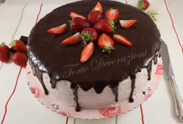 torte e decorazioni torta cioccolato e fragole con crema