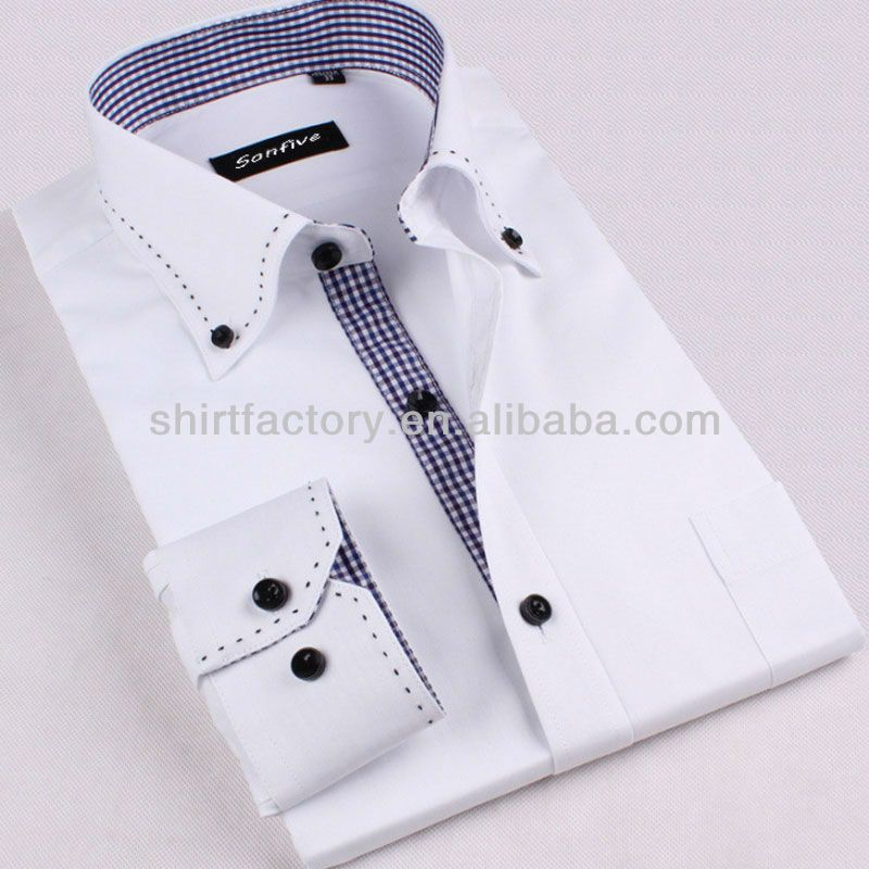 100% Cotton Designer White Mens Shirt With Pick Stitching $4~$8 ...