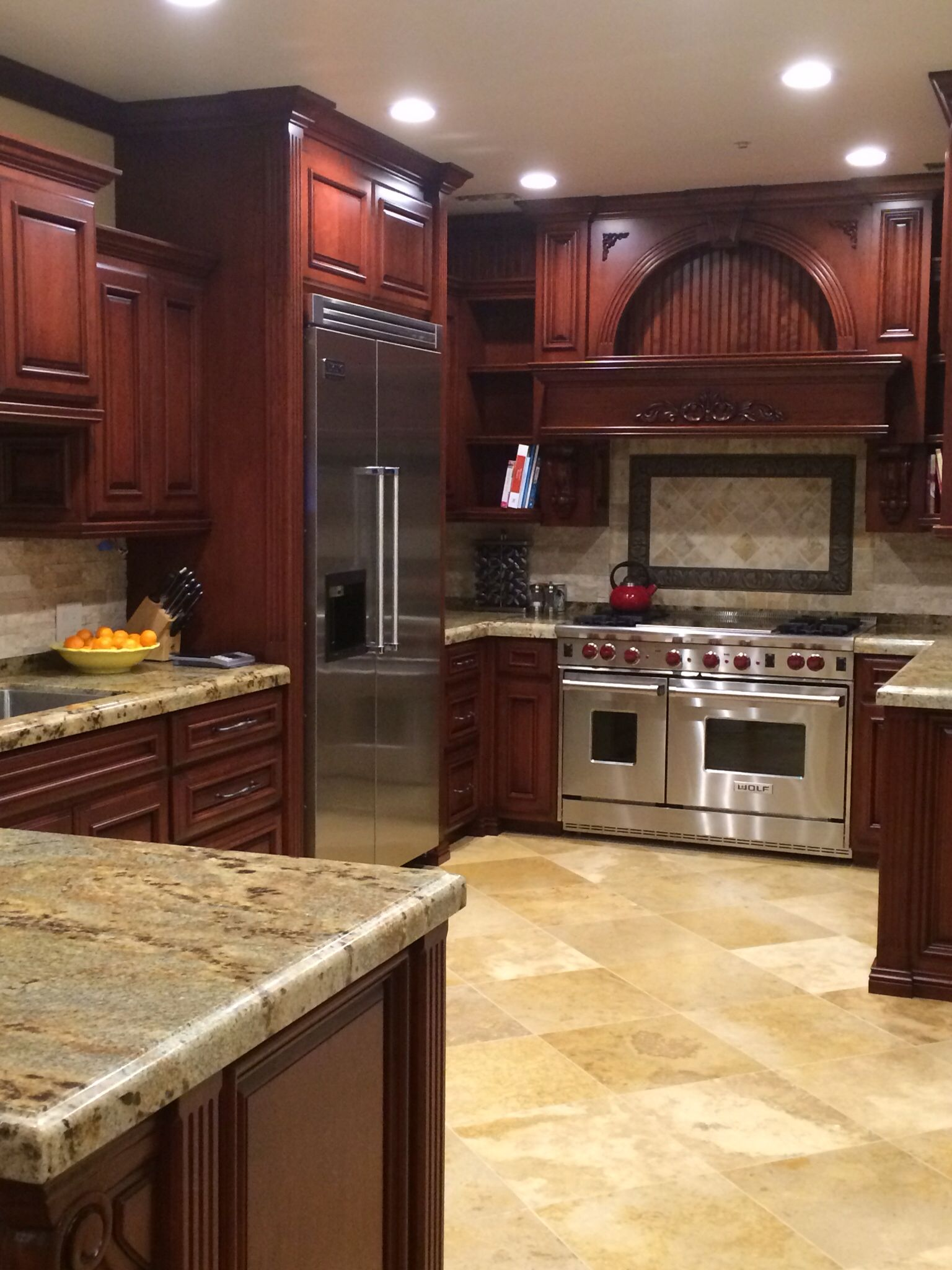 Kitchen Floor Cabinets Cleaning Products Cherry With Gray Wall And Quartz