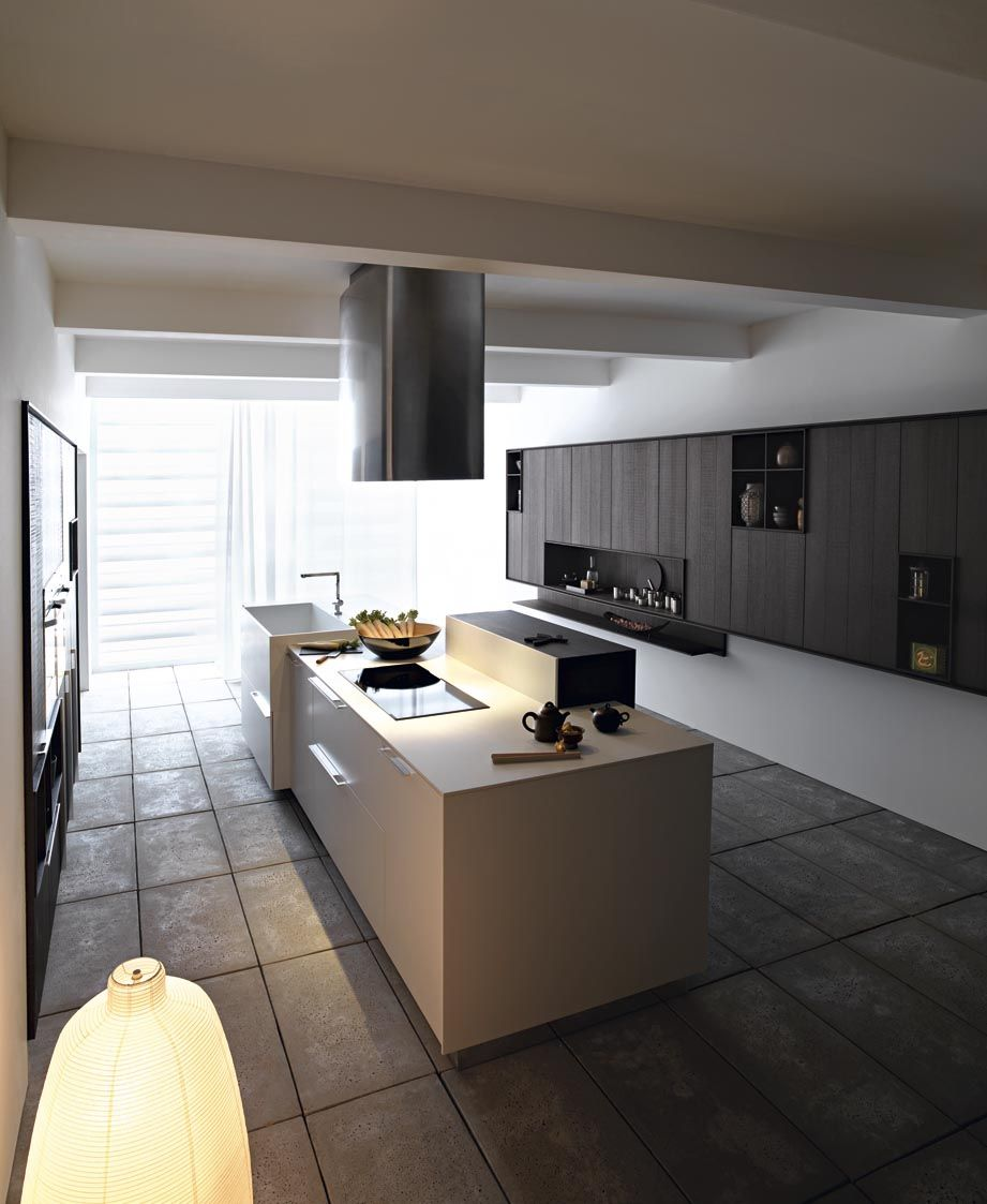 Fitted Kitchen With Island Kalea By Cesar Cucine Living
