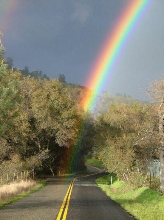 Is That Rainbow Seriously Ending On The Road I Ve Never Seen The End Of A Rainbow Although I Ve Driven Like A Pejzazhi Prirodnye Yavleniya Fonovye Izobrazheniya
