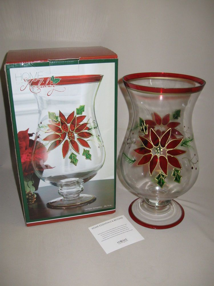 Home Holiday Handcrafted Glass Hurricane Candle Stick Holder Poinsettia Design