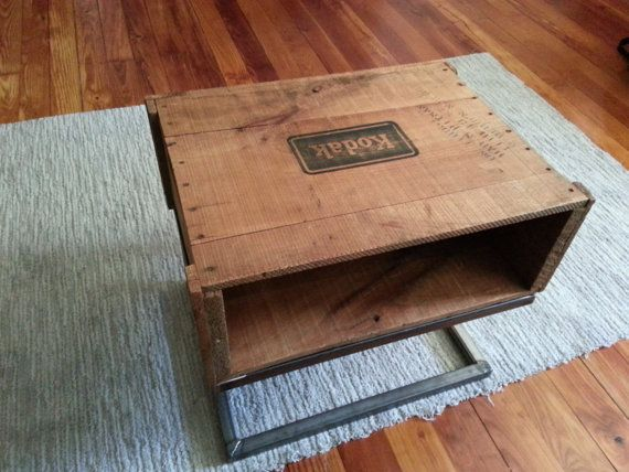 Vintage 1950s kodak shipping crate table.