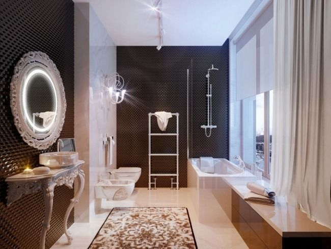 luxus badezimmer neubarock möbel weiß schwarz wandfliesen, Esszimmer
