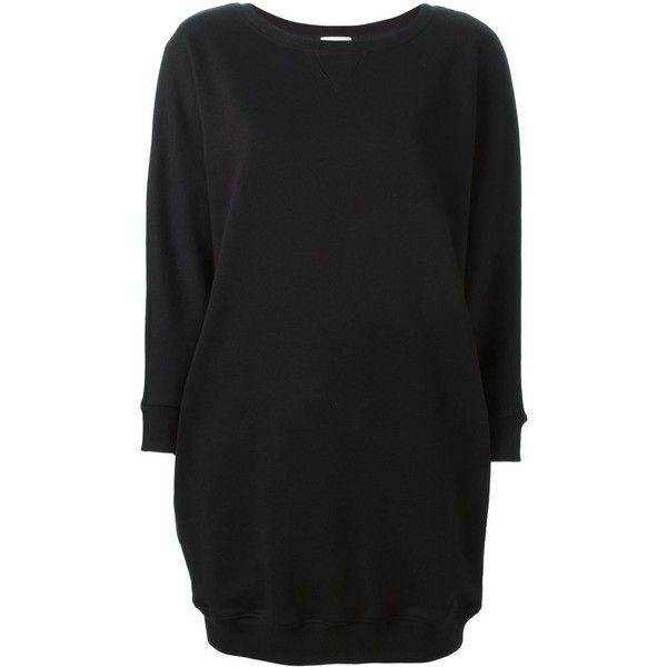 Saint Laurent short sweater dress (1,387 CAD) ❤ liked on Polyvore featuring dresses, black, short black dresses, black dress, short dresses, long sleeve sweater dress and cotton sweater dress