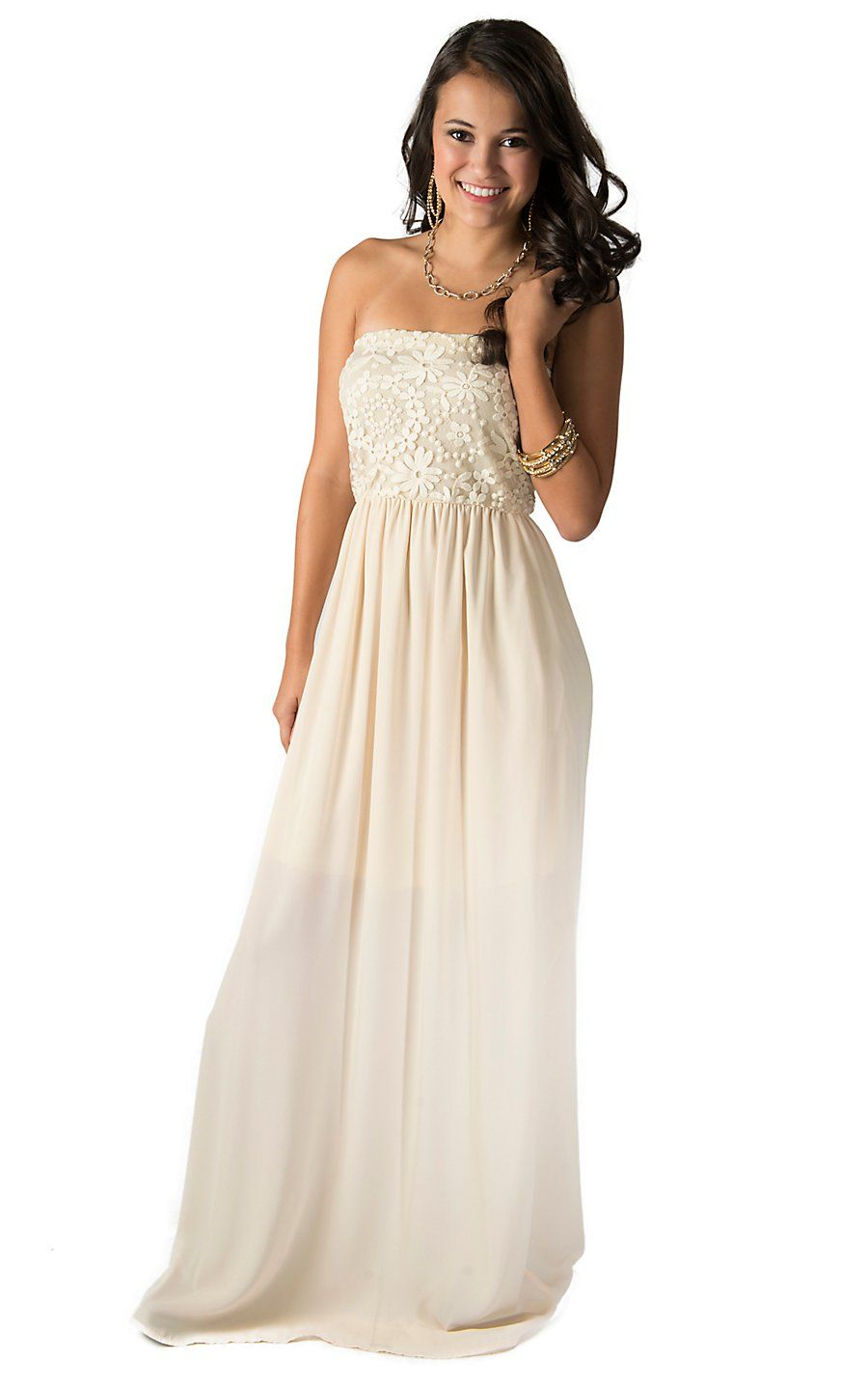 14aac4d9795 Karlie Women s Ivory with Floral Lace Bustier Strapless Maxi Dress ...