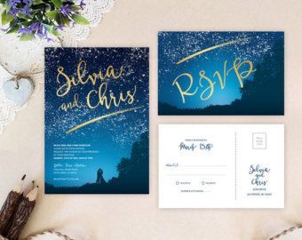 Genial Starry Night Wedding Invitation And Wishing Well Card Under