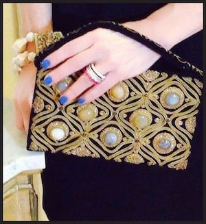 A jeweled bag from a consignment shop In Sag Harbour. The stones are semi precious! Worn by Elle @ http://mydailycostume.com