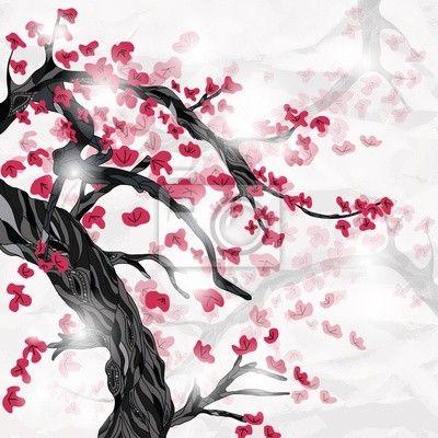 sticker fleur de cerisier au printemps ispired par la peinture japonaise pixers nous vivons. Black Bedroom Furniture Sets. Home Design Ideas