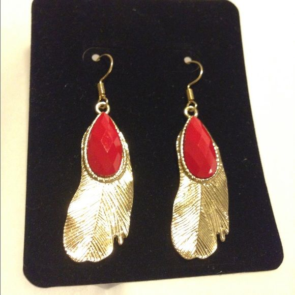 "Metal Feather & Teardrop Earrings Red color stone set in gold tone metal with a beautiful feather design.  Size:  .6"" W, 2.25"" L.  Price is firm unless bundled.   Farah Jewelry Jewelry Earrings"