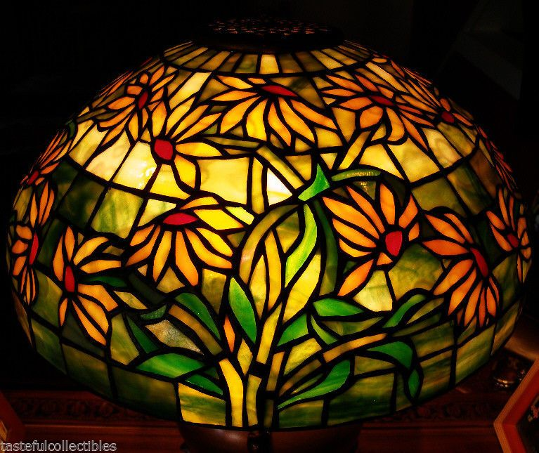Tiffany reproduction stained art glass lamp shade black eyed susan tiffany reproduction stained art glass lamp shade black eyed susan 16 wide aloadofball Images