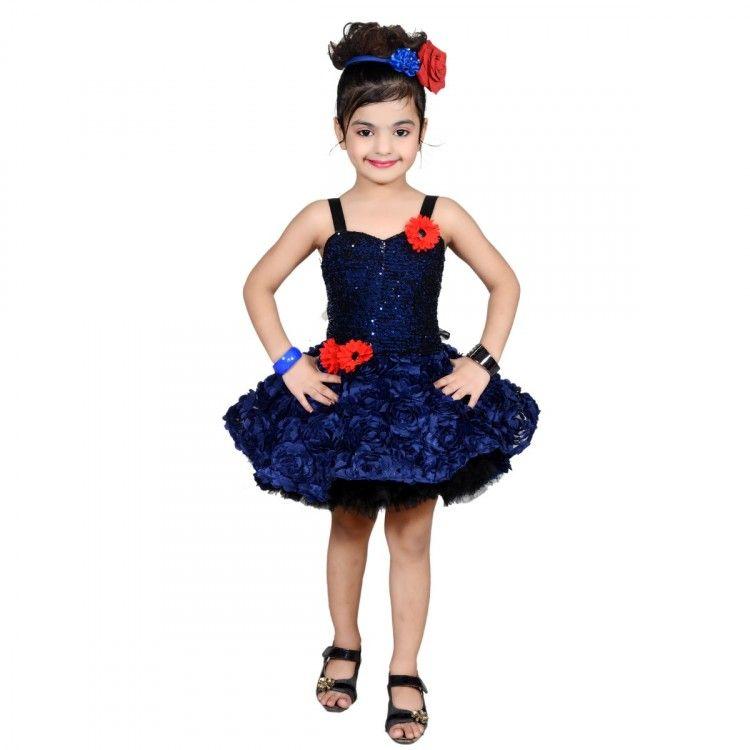 b8e6b455d Aarika Girl s Self Design Party Wear Net Frock In Blue Color ...