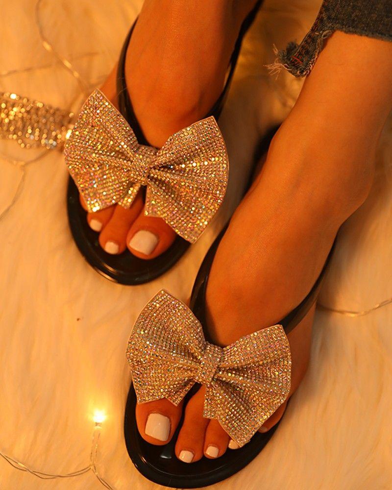 Studded Bowknot Design Open Toe Sandals