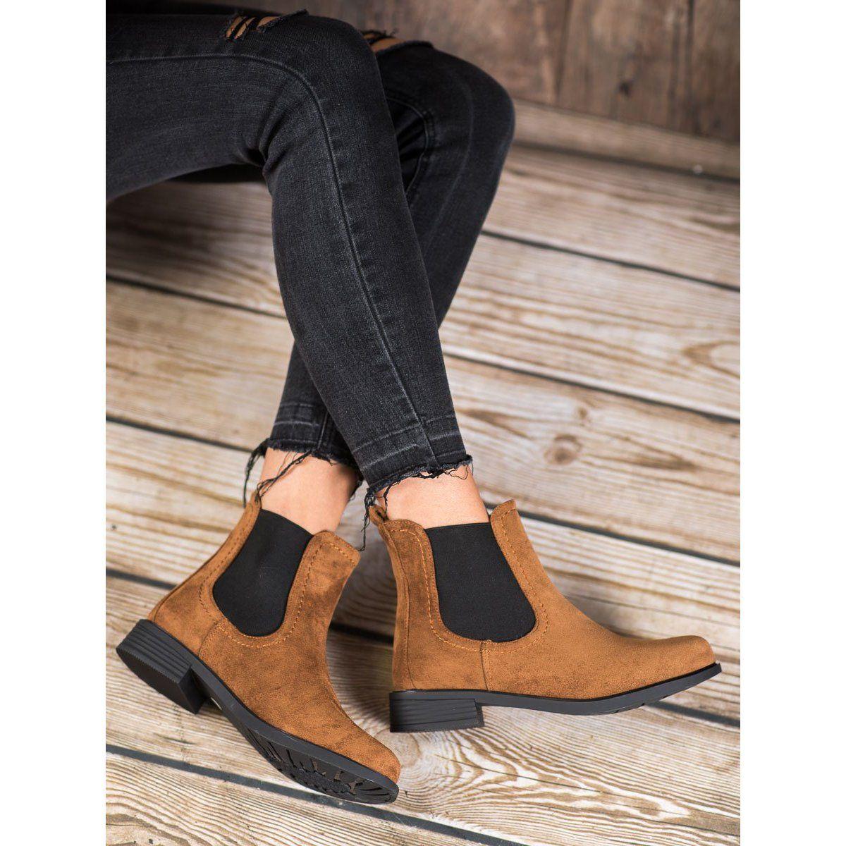Ideal Shoes Casualowe Sztyblety Brazowe Jodhpur Boots Boots Brown Boots