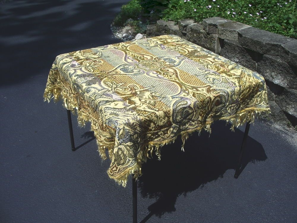 Tapestry Tablecloth Woven Fringe Italian Vintage Crusader On Horse