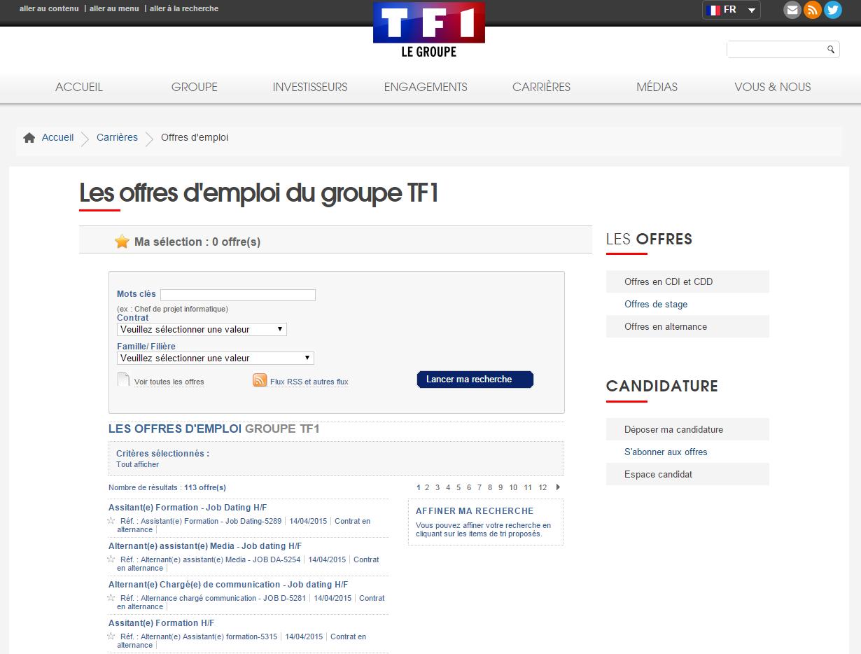 TF1 recrute jobb dating