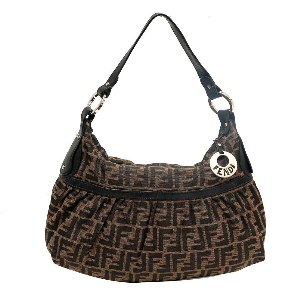 Auth Fendi Zucca Monogram Canvas Chef Hobo Bag Black with Leather Trim Less  Used  Fendi  ShoulderBag cc12dcfb850db