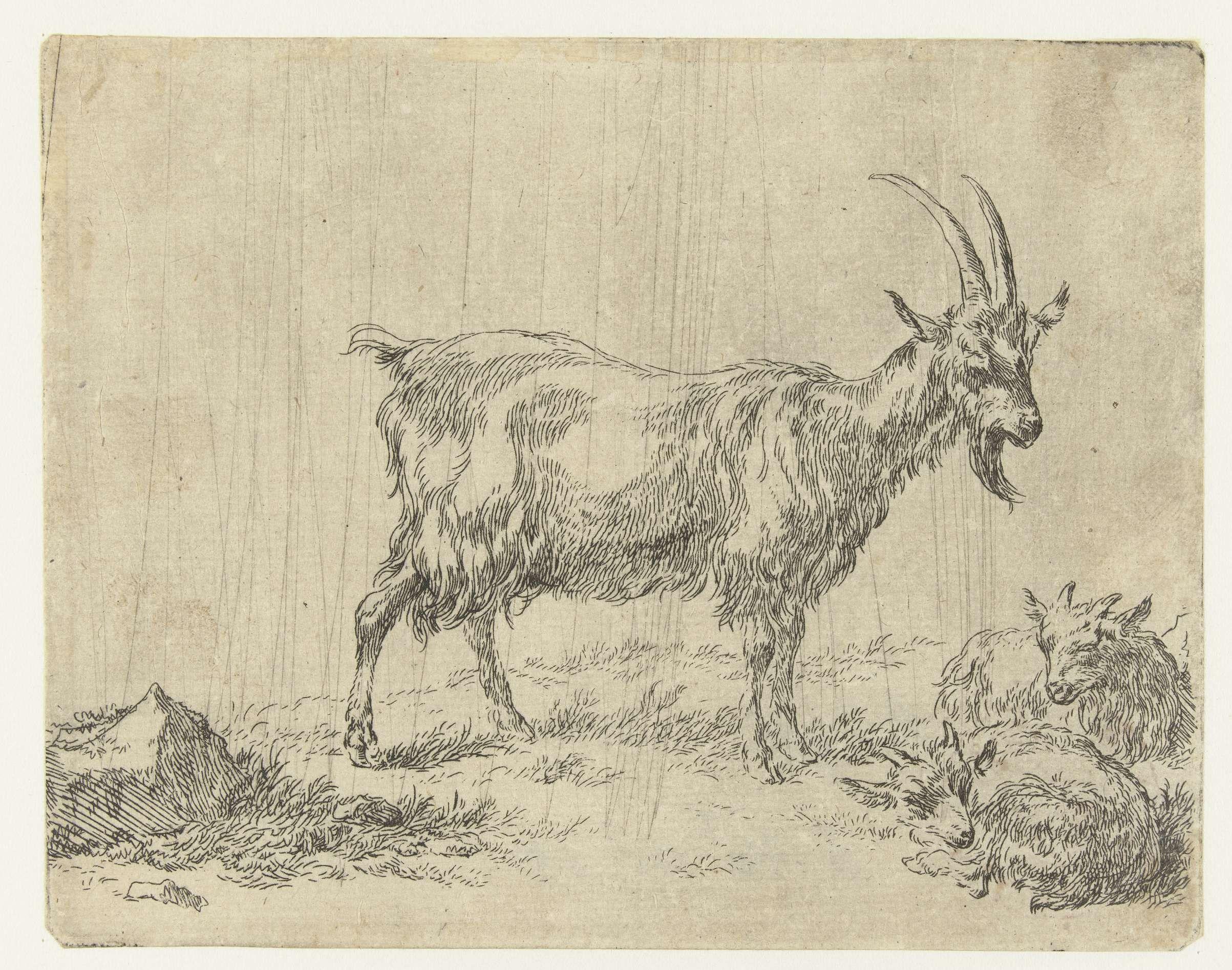 Nicolaes Pietersz. Berchem | Geit met twee jongen, Nicolaes Pietersz. Berchem, 1648 - 1652 |