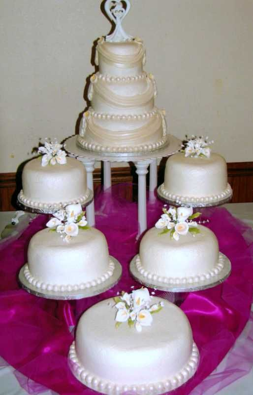 Drapes Pearls Calla Lilies Big Wedding Cakes