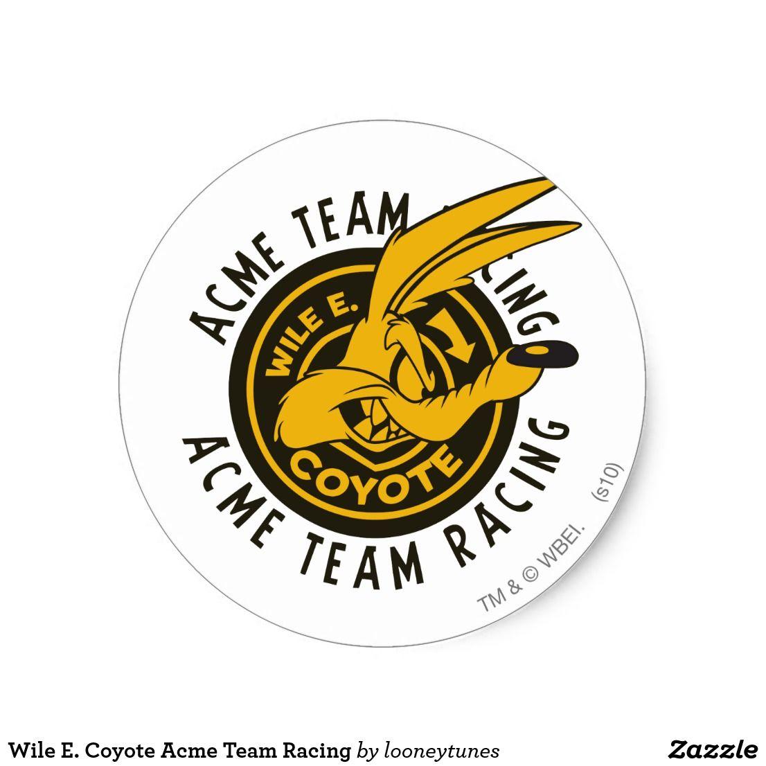 Wile E Coyote Acme Team Racing Classic Round Sticker Zazzle Com In 2021 Coyote Acme Cartoon Classic Cartoon Characters [ 1106 x 1106 Pixel ]