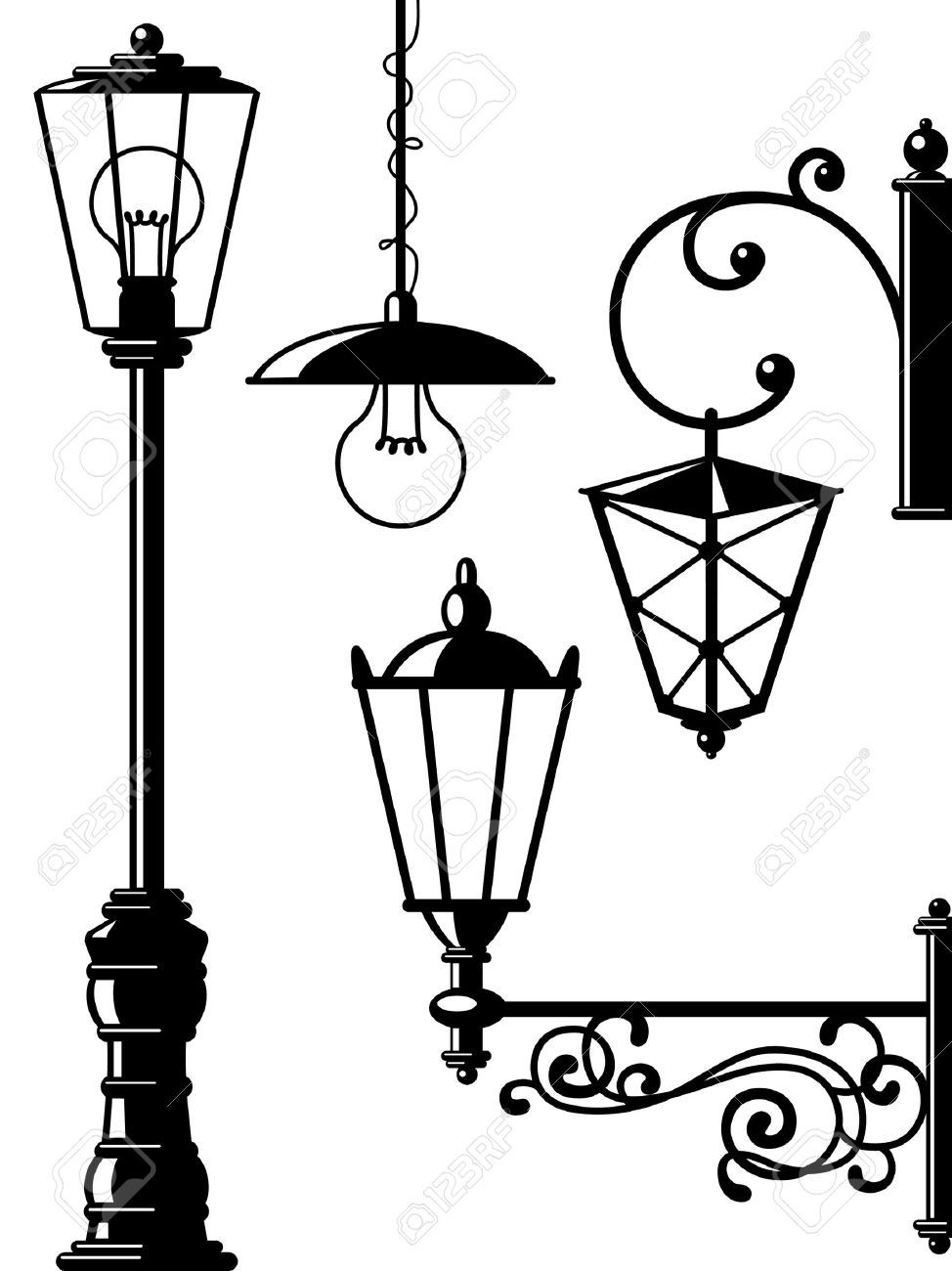 Silhouettes Of Retro Lanterns Street Lamps Street Lamp Lantern Drawing Simple Wall Paintings