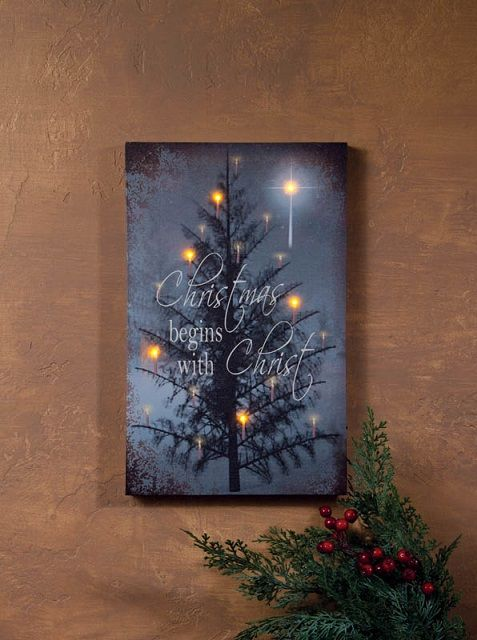 radiance lighted canvas christmas begins with christ christmas tree and star canvas lighted. Black Bedroom Furniture Sets. Home Design Ideas