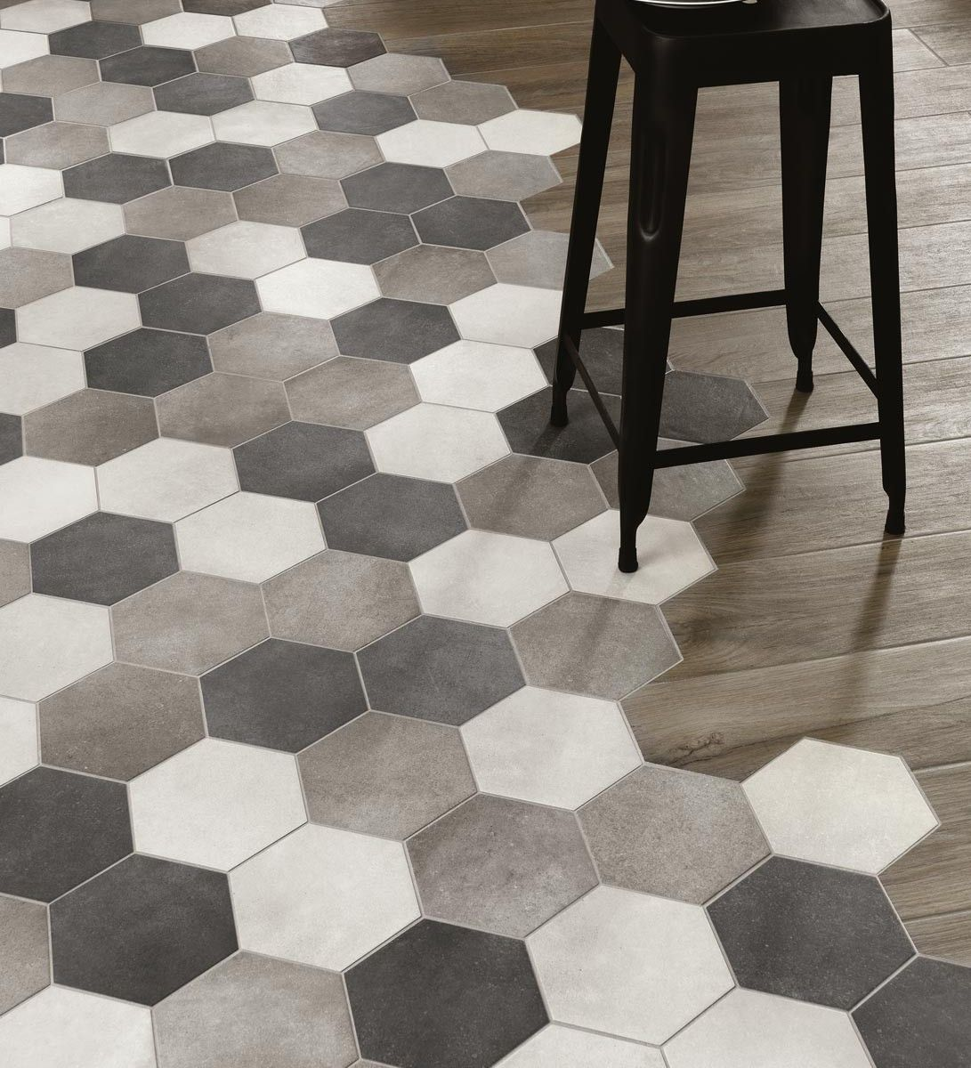 Love this floor finish transition arredamento pinterest hex tile to wood floor transition woodplace ragno marazzi group love this style dailygadgetfo Choice Image
