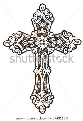 Catholic Cross Drawingornate Cross Hand Drawn Stock Photo