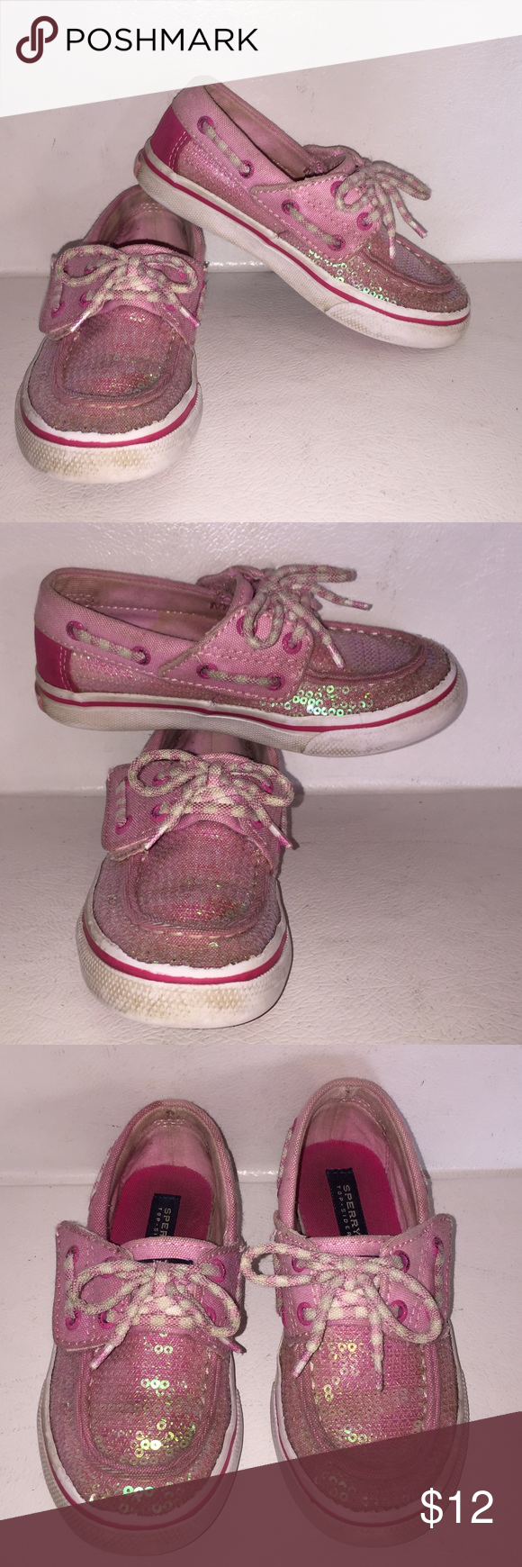 Pink Sequin SPERRY Boat Shoes So fun so sparkly. So much sequins. Theses shoes are gently used but a little dirty. Nothing a wash can't handle Sperry Shoes