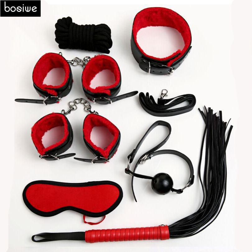 섹스 속박 키트 세트 7 개 섹시한 제품 세트 성인 게임 장난감 세트 손 팔목 Footcuff 채찍 로프 눈가리개 커플 에로틱 장난감