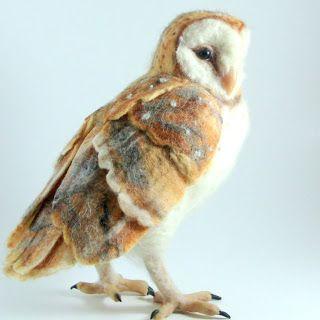Needle Felted Art by Robin Joy Andreae: Stella, the Barn Owl