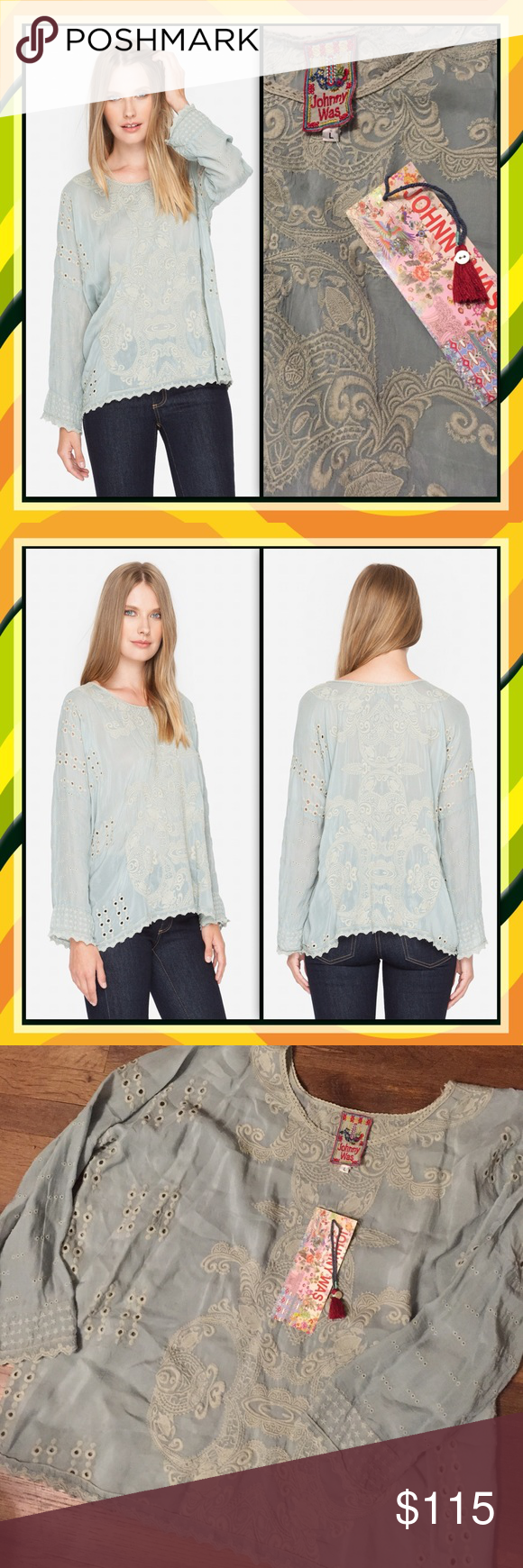 """Lightweight Embroidered Top Blouse Johnny Was Johnny Was ALONA SCOOP TOP with tonal embroidery   —100% Capra Rayon —Scoop Neck —Slip On Style —Care Instructions: Machine Wash Cold, Tumble Dry Low —Measures Bust: 54"""", Length: 26"""" Johnny Was Tops Tunics"""