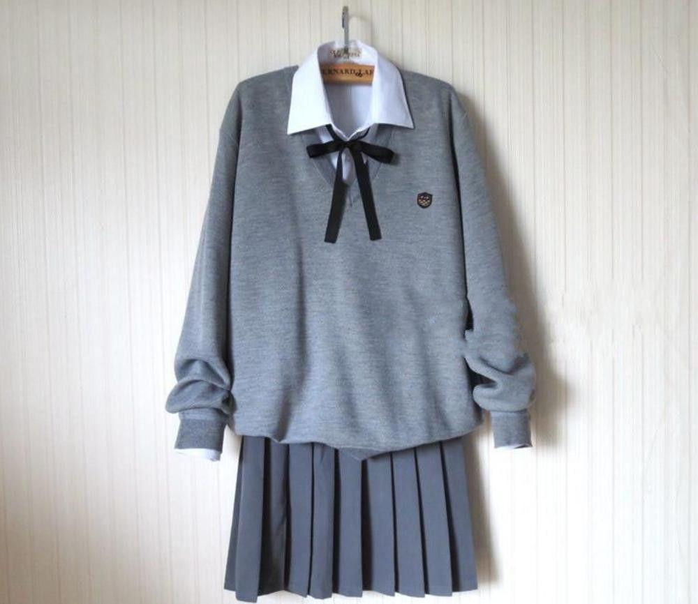 Autumn of School Uniform Japanese School Girl Uniform Sweater Skirt Shirt Sets