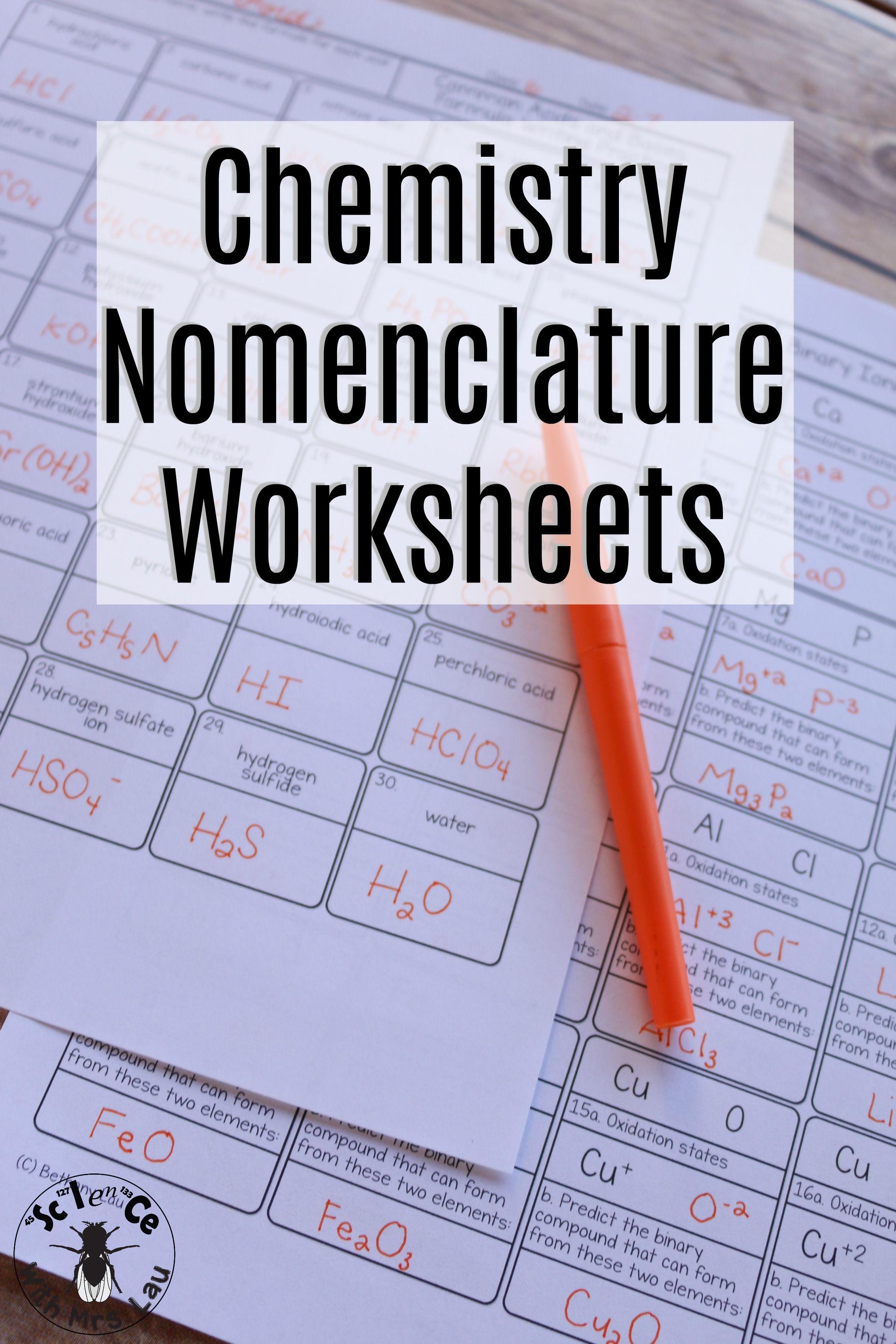 Nomenclature Chemistry Homework Page Unit Bundle