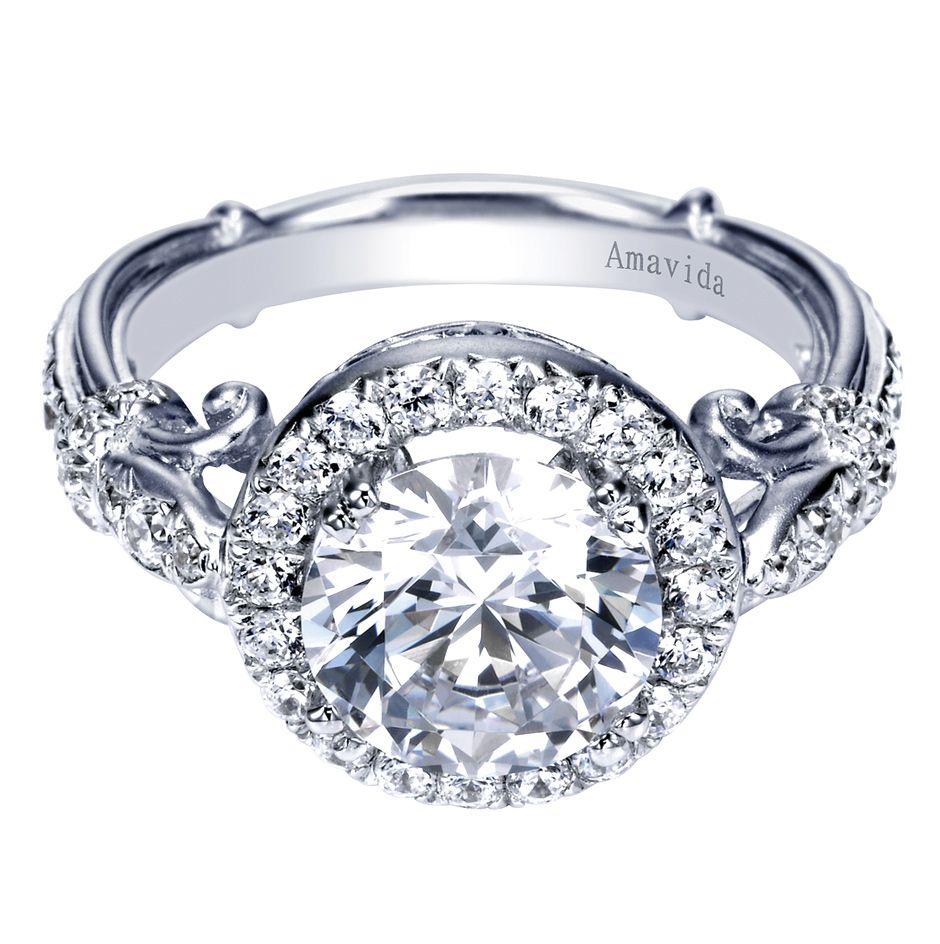 18K White Gold Contemporary Halo Engagement Ring g00ing