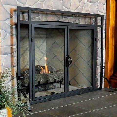 Single Panel Fireplace Screen W Doors 44 W X 33 H Northline Express Fireplace Glass Doors Glass Fireplace Fireplace Screens With Doors