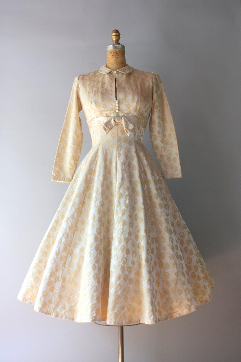 1950s Vintage Dress 1950s Golden Satin Damask Party Dress Etsy Vintage 1950s Dresses Vintage Dresses Dresses [ 1192 x 794 Pixel ]