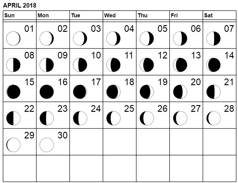Moon Phases April 2018 Calendar Full And New Moon Moon Phases