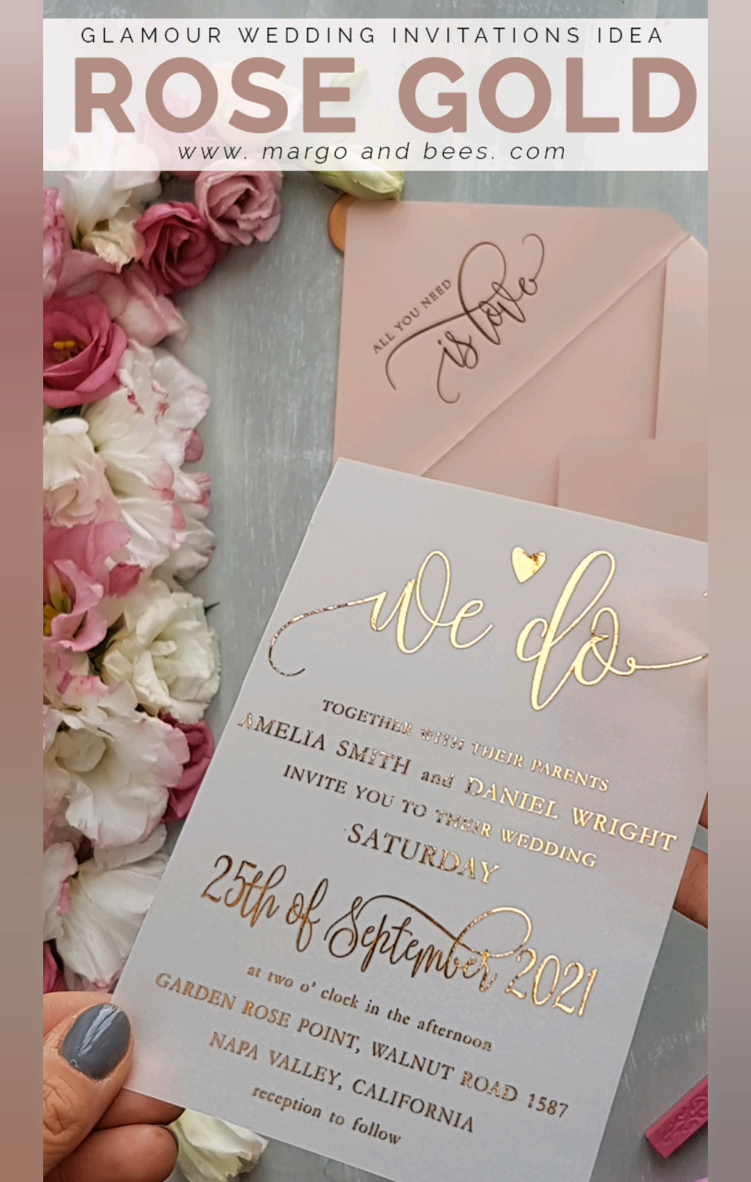 Simple wedding invitations with rose gold lettering