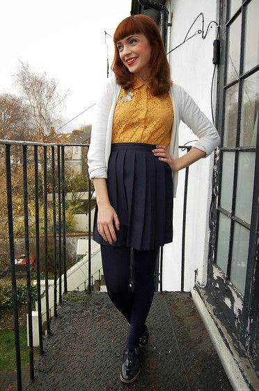 Navy lace dress black tights with brown