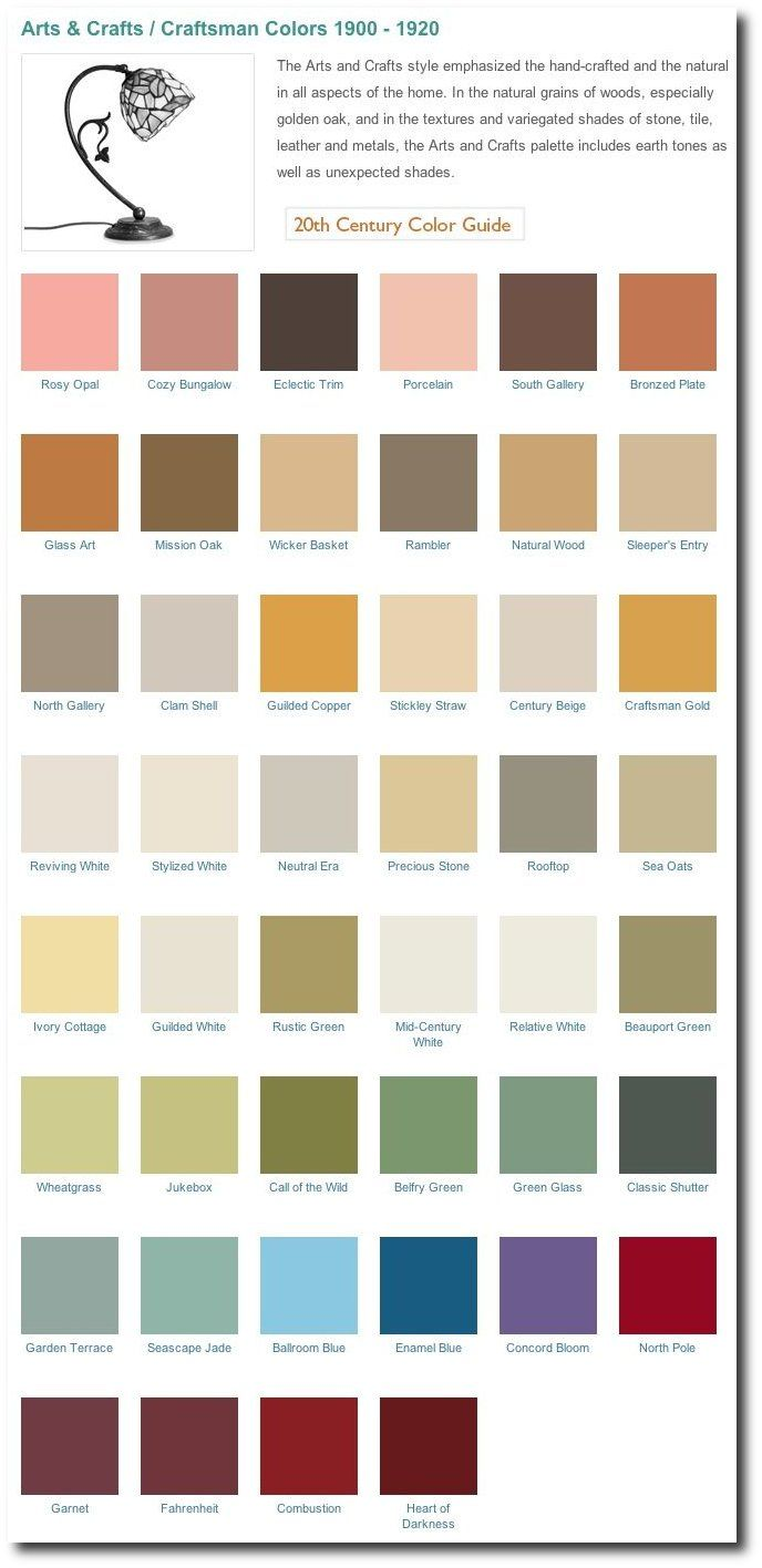 Comfort Colors Color Chart >> Arts & Crafts interior paint colors 1900-1920 | Arts, crafts interiors, Craftsman bungalow house ...