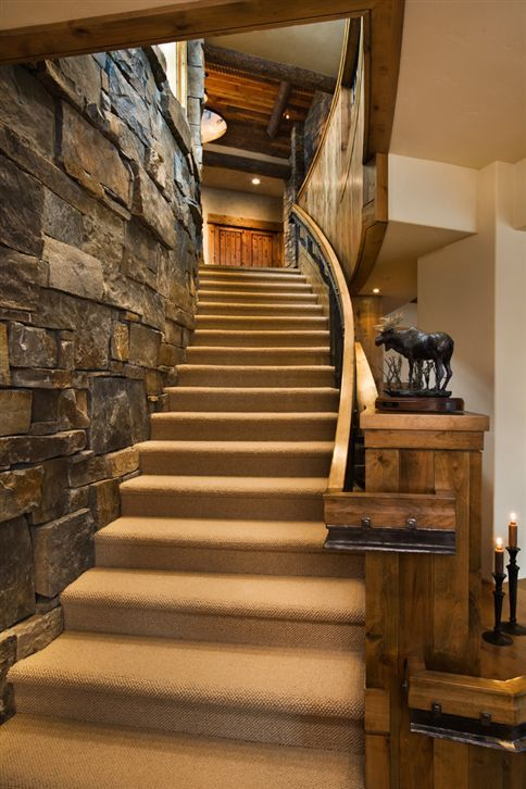 Best Love The Stone Wall Going Up The Staircase Rustic 400 x 300