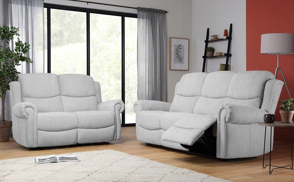 Hadlow Dove Grey Plush Fabric 3 2 Seater Recliner Sofa Set Reclining Sofa Buy Sofa Sofa Set