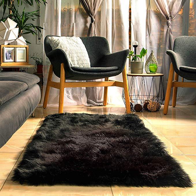 Amazon Com Fluffy Faux Black Fur Rug With Soft Thick Padding And Anti Slip Back Amazon Com Fluffy F Black Rug Bedroom Black Shag Rug Black Faux Fur Rug
