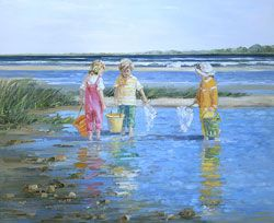 Reflections at the Inlet by Sally Swatland - 26 x 32 inches Signed impressionist beach scenes children playing contemporary american chase pothast